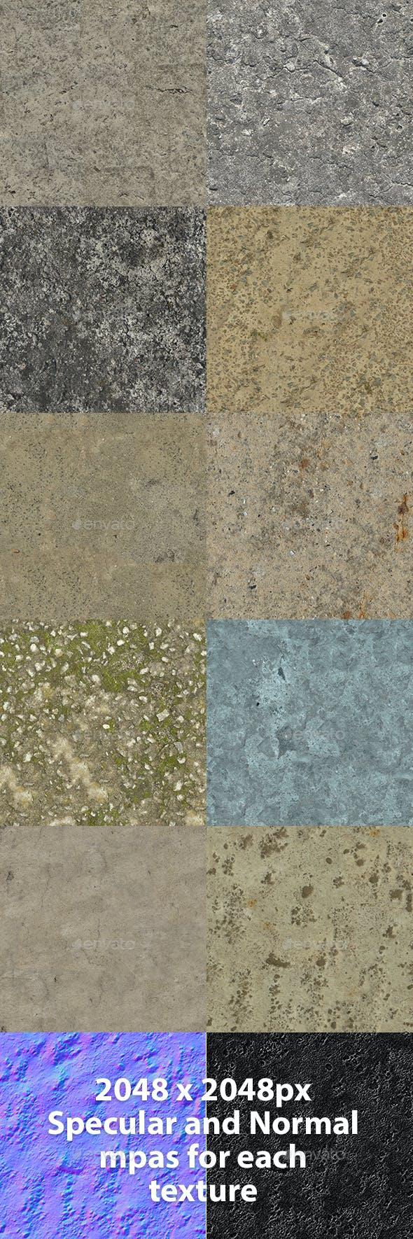 Set of 10 Various Concrete Floor Textures Volume 4 - 3DOcean Item for Sale