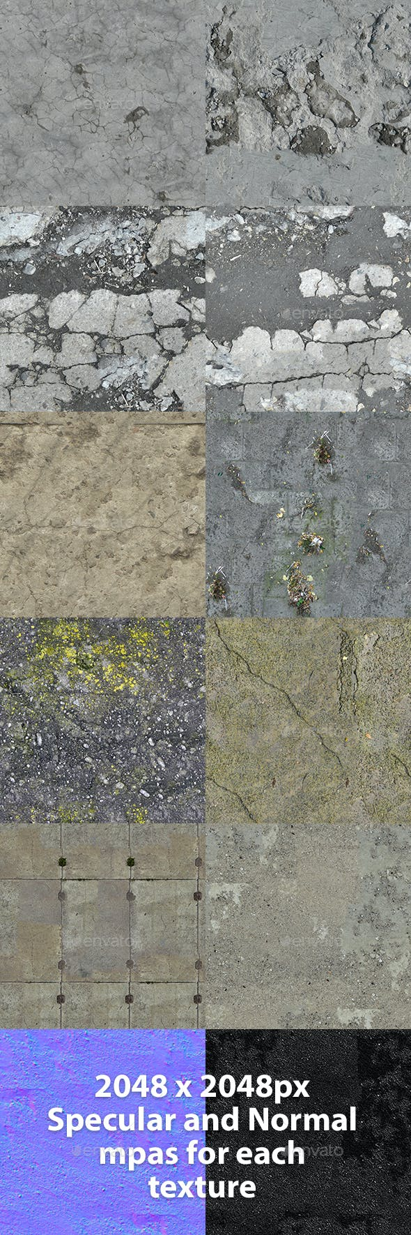 Set of 10 Various Concrete Floor Textures Volume 5 - 3DOcean Item for Sale