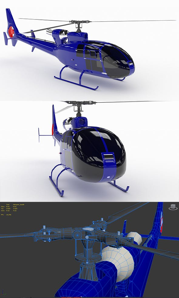 Helicopter SA342 Gazelle VR AR - 3DOcean Item for Sale
