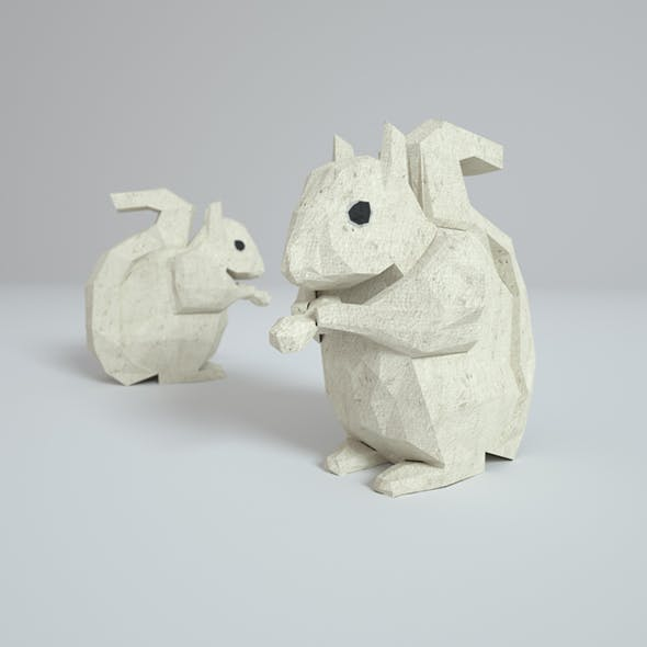 Low Poly Paper Squirrel