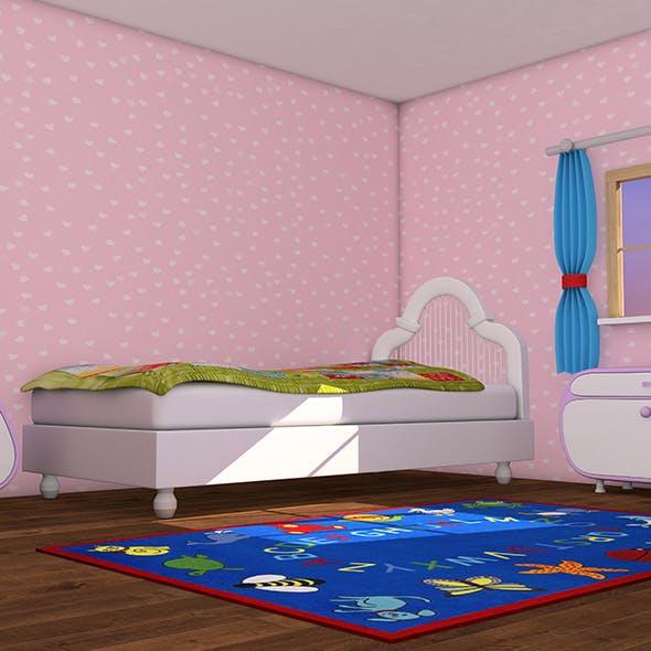 Cartoon Pink Kids Room - 3DOcean Item for Sale