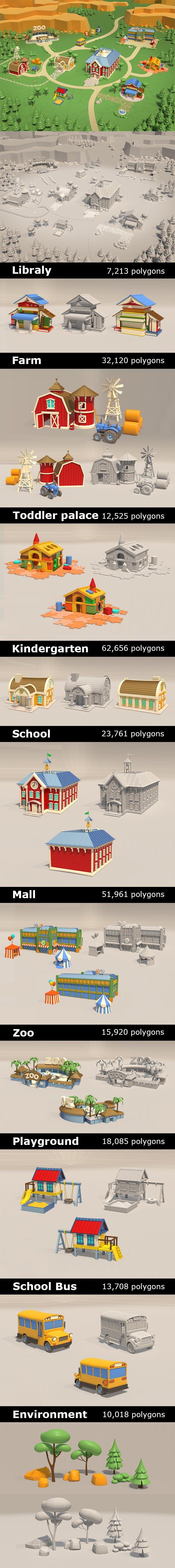 Cartoon City Set - 3DOcean Item for Sale