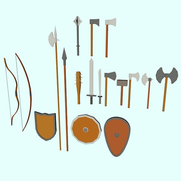 Low Poly Medieval Weapons - 3DOcean Item for Sale