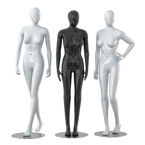 Three faceless female mannequins 28 - 3DOcean Item for Sale