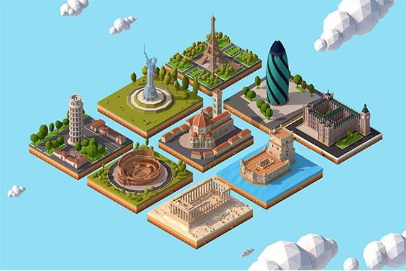 Cartoon Low Poly Europe Landmarks Pack - 3DOcean Item for Sale