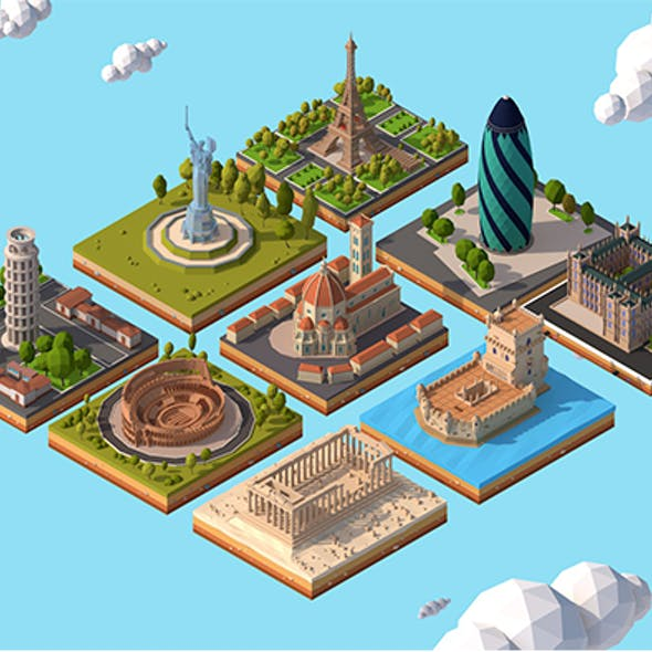 Cartoon Low Poly Europe Landmarks Pack