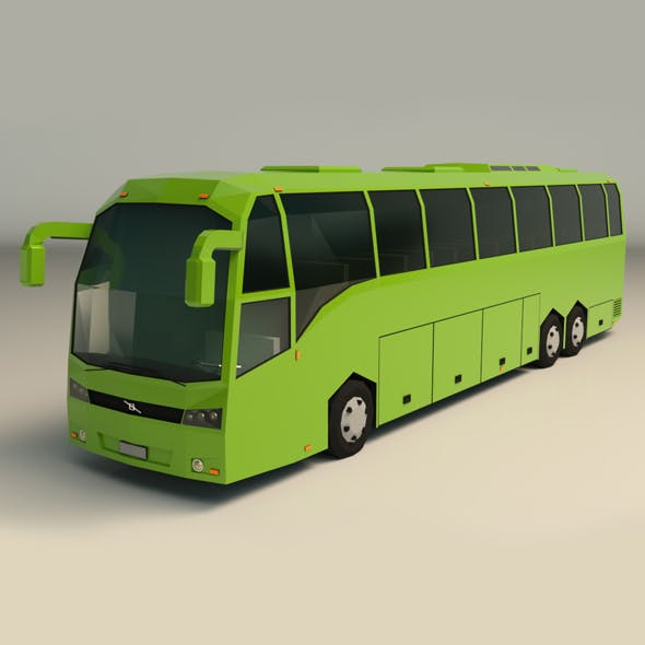 Low Poly Coach Bus 01