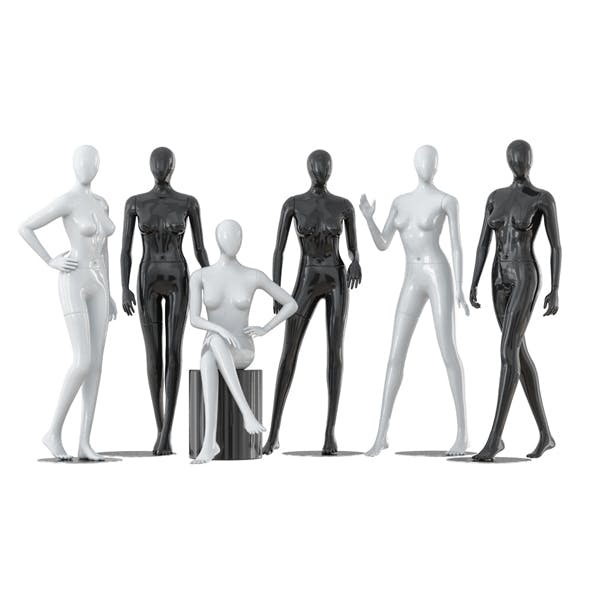 Collection of six faceless female mannequins 29 - 3DOcean Item for Sale