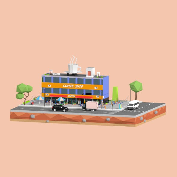 Low Poly Corner Coffee Shop - 3DOcean Item for Sale