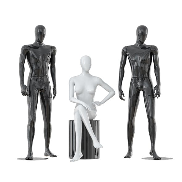 Two male and one female faceless mannequins 30 - 3DOcean Item for Sale