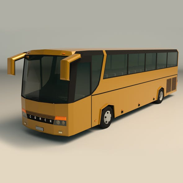 Low Poly Coach Bus 02