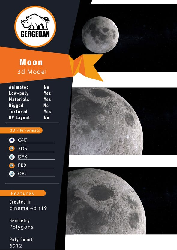 Realistic 8k Moon - 3DOcean Item for Sale