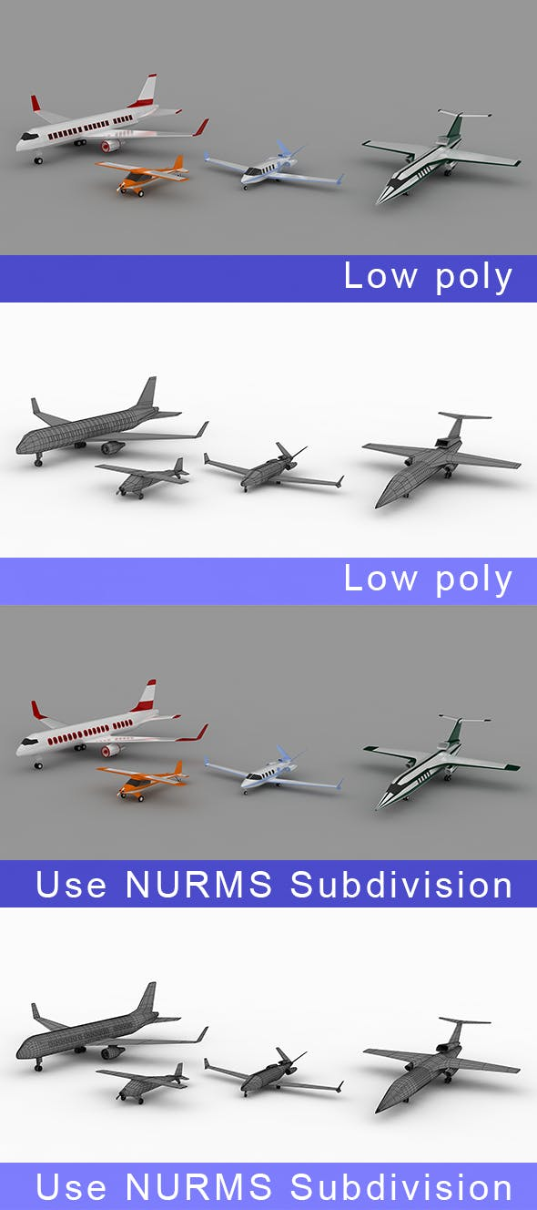 Low-poly Air vehicles Planes - 3DOcean Item for Sale