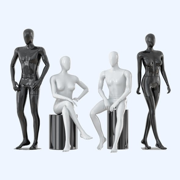 Four faceless mannequins two male and two female 31 - 3DOcean Item for Sale