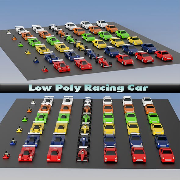 Low Poly Racing Car Pack - 3DOcean Item for Sale