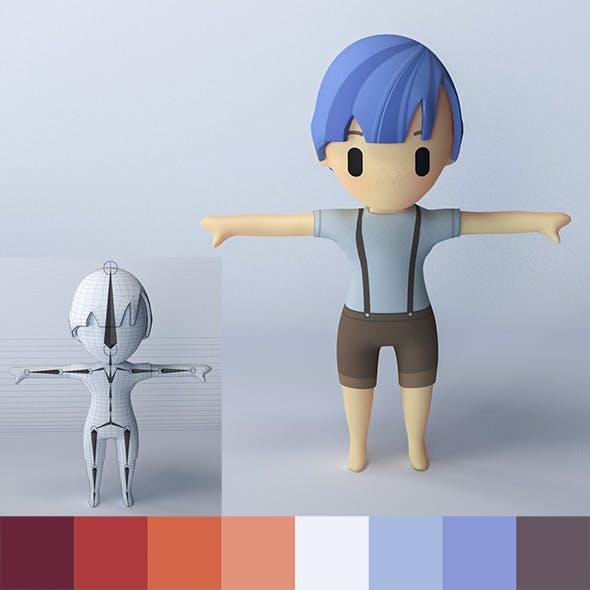 Cartoon Boy - Character. - 3DOcean Item for Sale