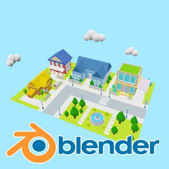 3D Scene housing lowpoly - 3DOcean Item for Sale