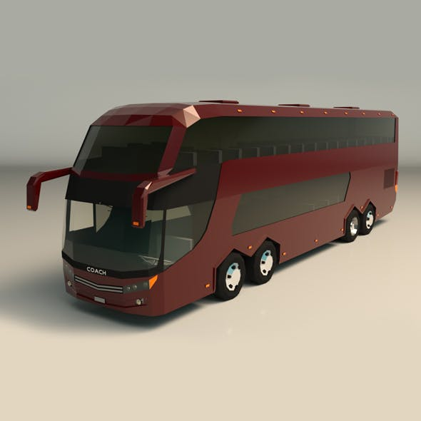 Low Poly Coach Bus 03