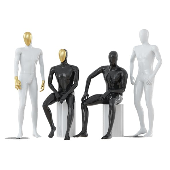Four abstract male mannequins 32
