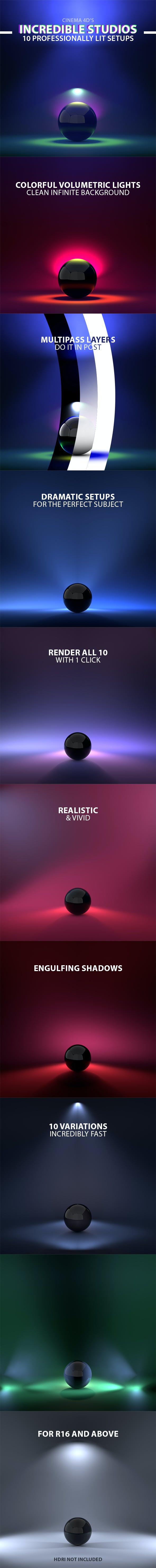 Incredible Studios - 10 Cinema 4D Light Setups - 3DOcean Item for Sale