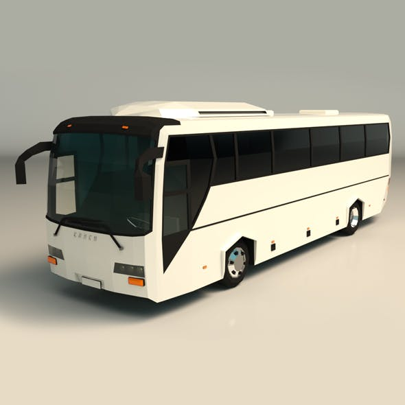 Low Poly Coach Bus 04