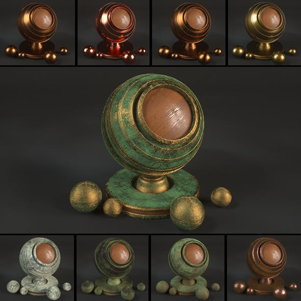 15 Bronze Material Shaders for Cinema4d Octane Render by