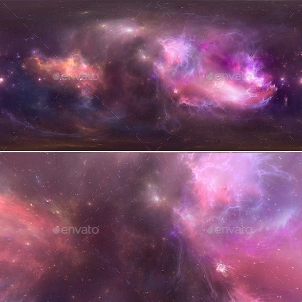 360 degree space background with nebula and stars, equirectangular projection, environment map. HDRI
