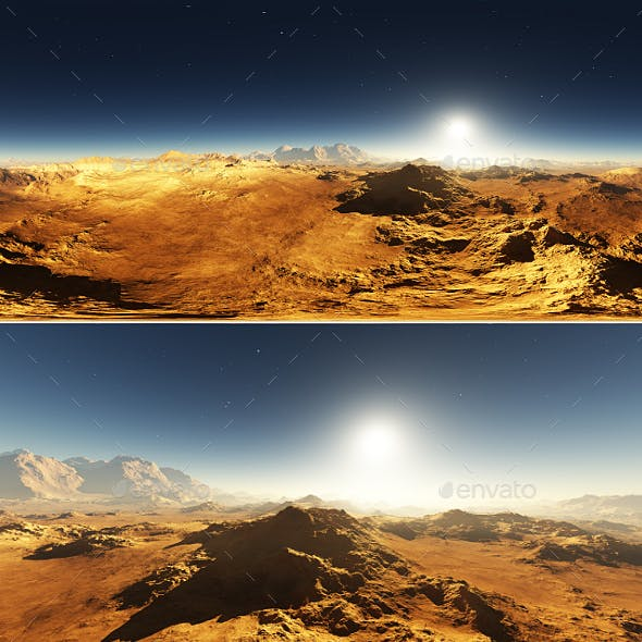 Martian landscape, environment 360 HDRI map. Equirectangular projection, spherical panorama