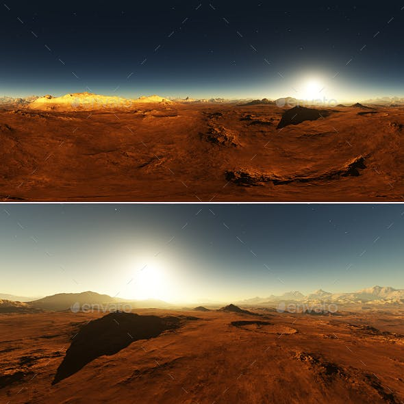 Martian landscape, environment 360 HDRI map. Equirectangular projection, spherical panorama