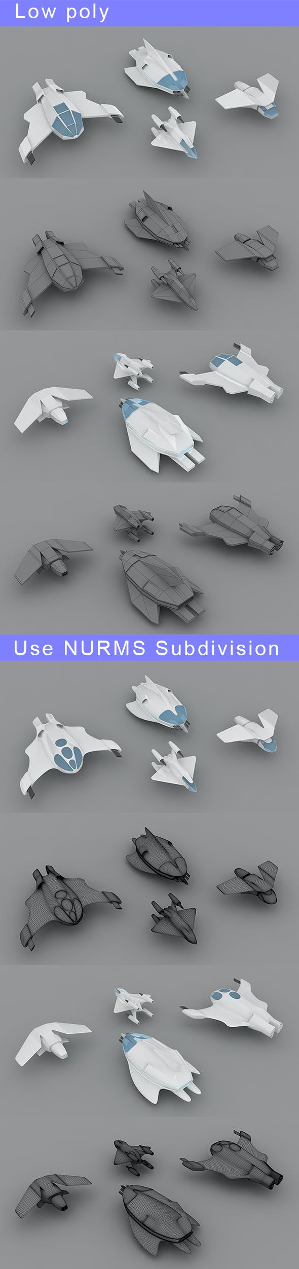 Low-poly Space ships (set 2) - 3DOcean Item for Sale