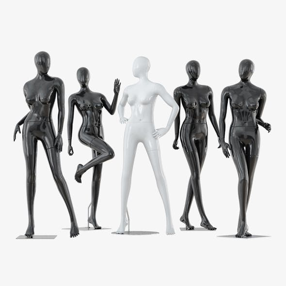 Collection of five faceless female mannequins 34