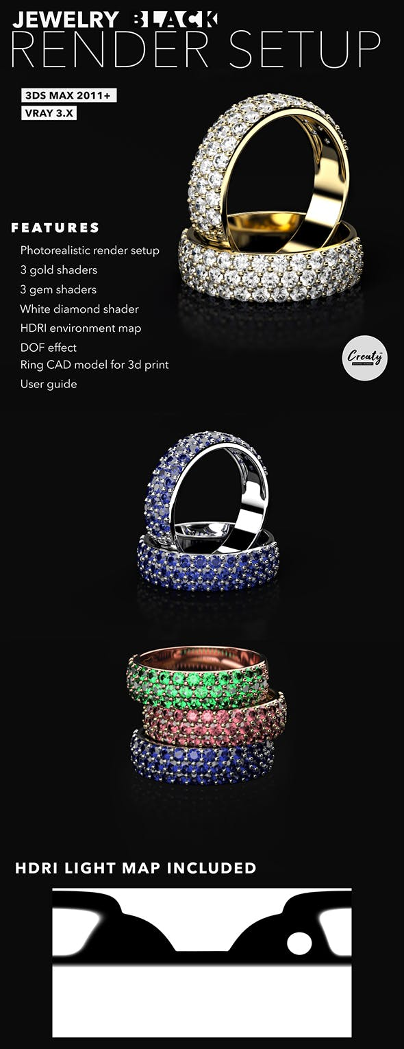 Jewelry Render Black Scene Setup 3Ds Max and VRay - 3DOcean Item for Sale