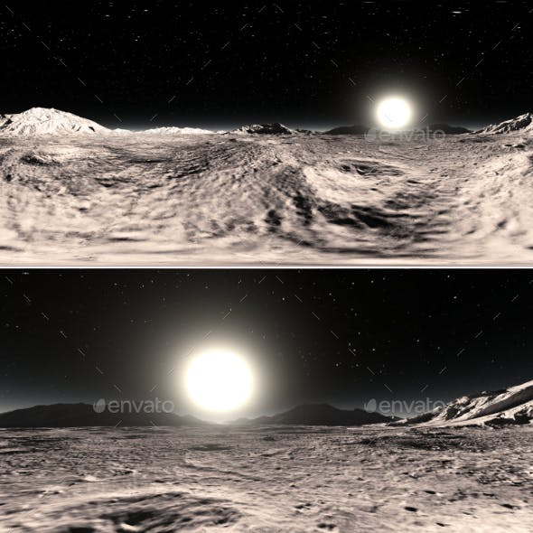 360 HDRI panorama of Mercury planet. Mercury landscape, environment map. Equirectangular projection