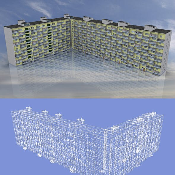 3D Model of 12 Storey Soviet Apartment Building