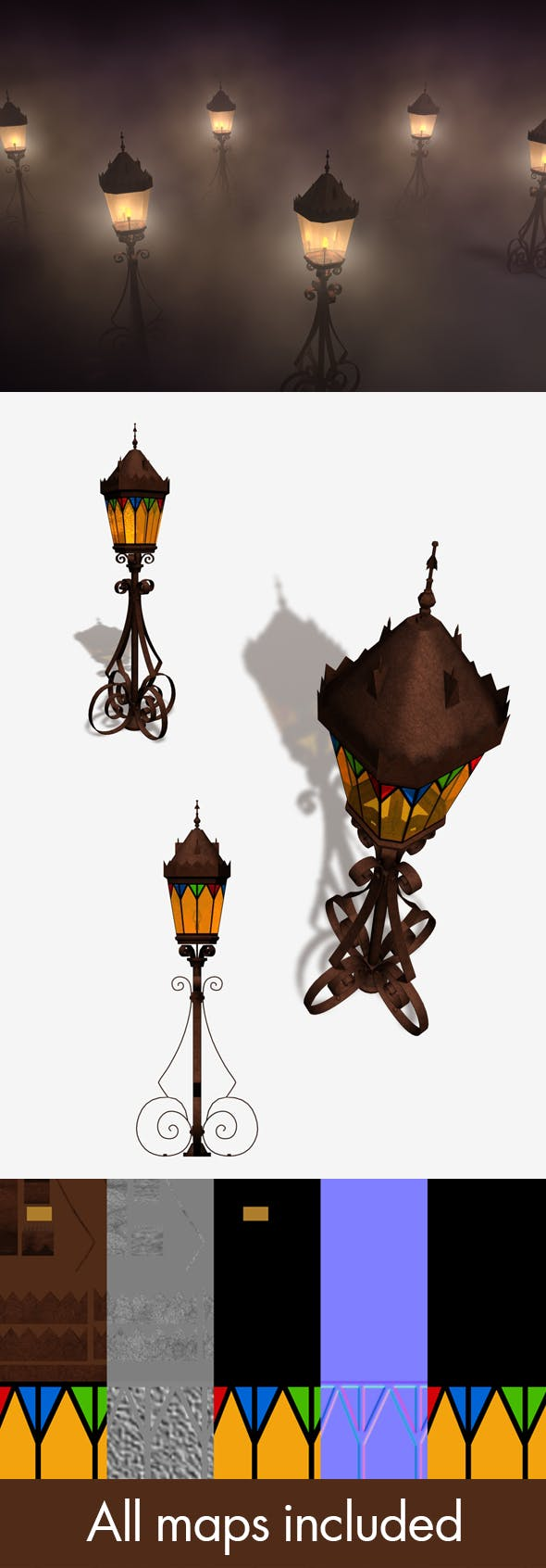 Outdoor Medieval Lamp - 3DOcean Item for Sale
