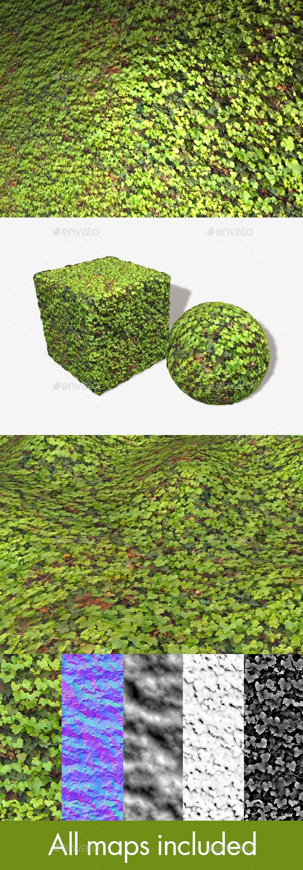 Bright Ivy Wall Seamless Texture - 3DOcean Item for Sale