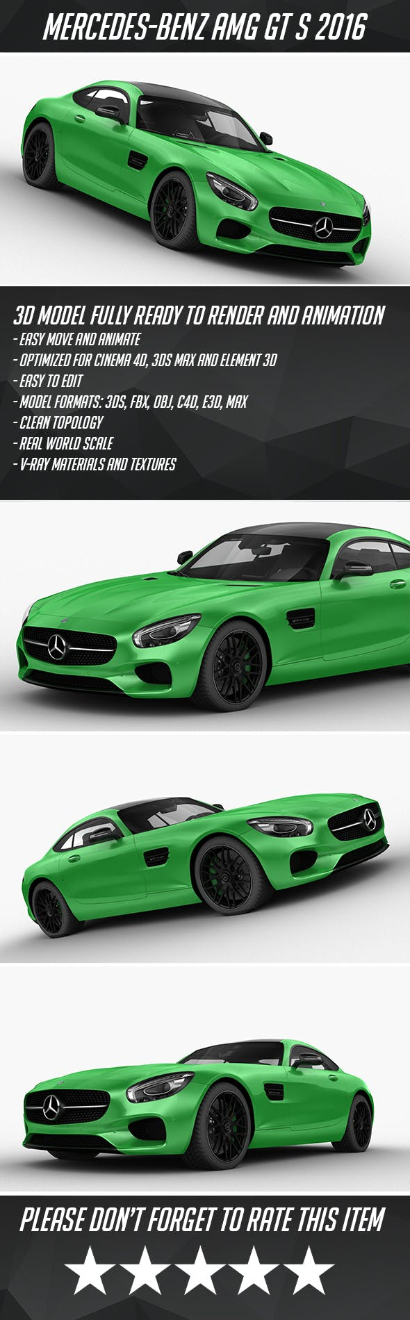 Mercedes-Benz AMG GTS 2016 - 3DOcean Item for Sale