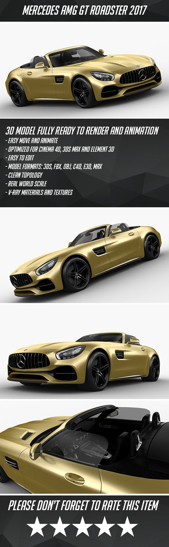 Mercedes-Benz AMG GTC Roadster 2017 - 3DOcean Item for Sale