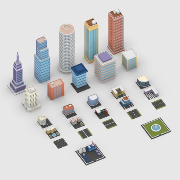 Low Poly City Buildings Pack