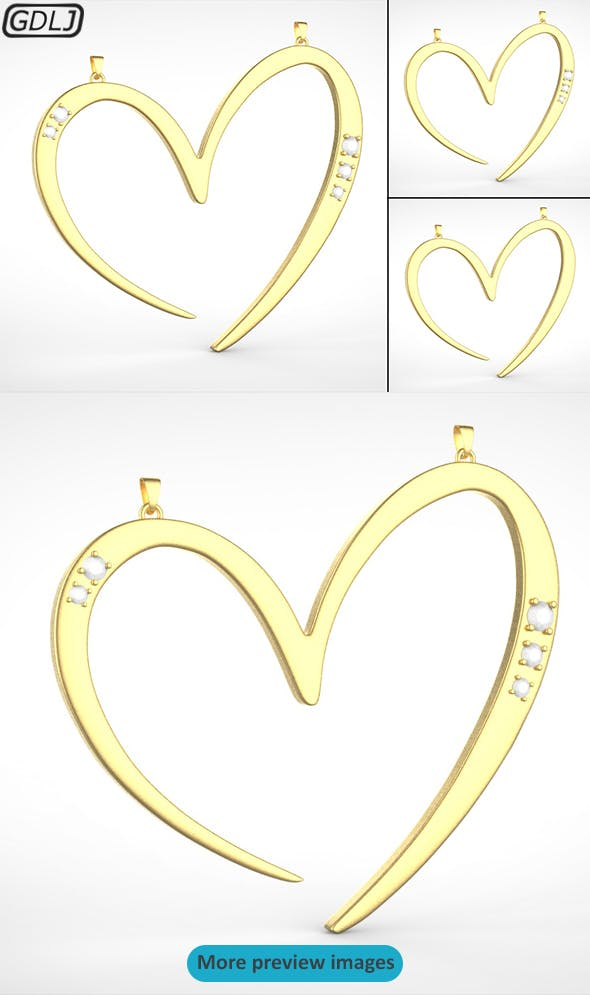 3 Love Heart Medals - 3DOcean Item for Sale