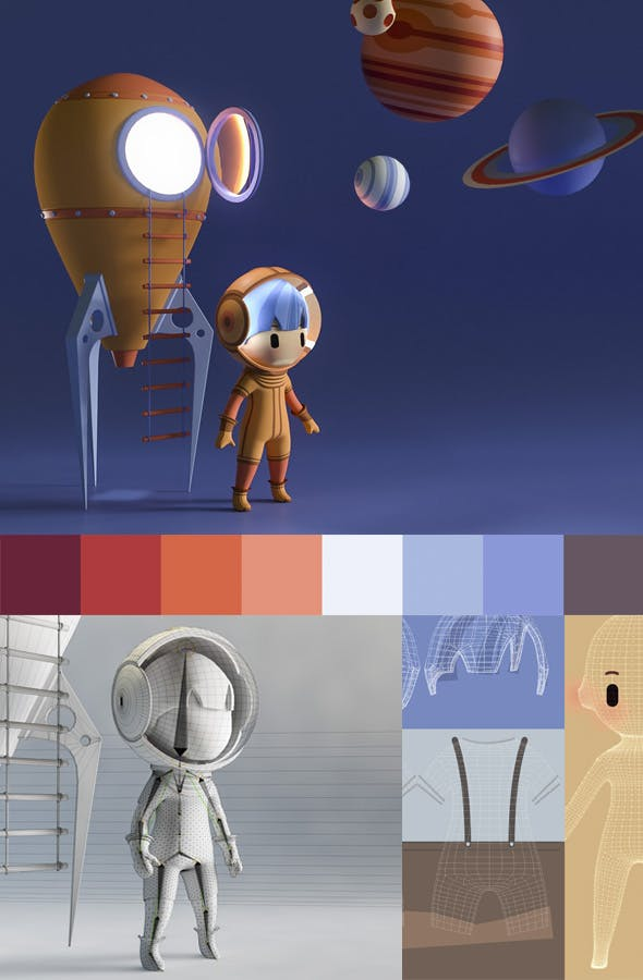 Astronaut Cartoon Boy - Characters - 3DOcean Item for Sale