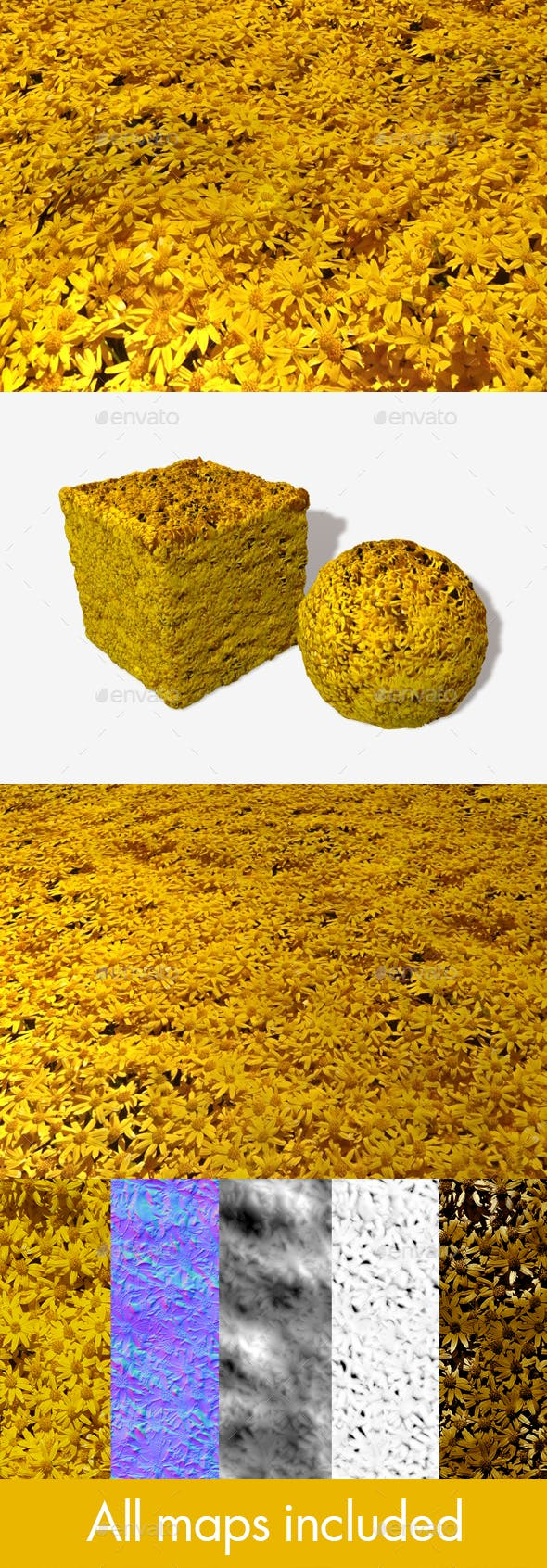 Yellow Desert Flowers Seamless Texture - 3DOcean Item for Sale