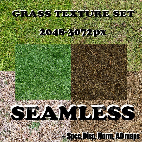 Seamless grass texture set - 3DOcean Item for Sale