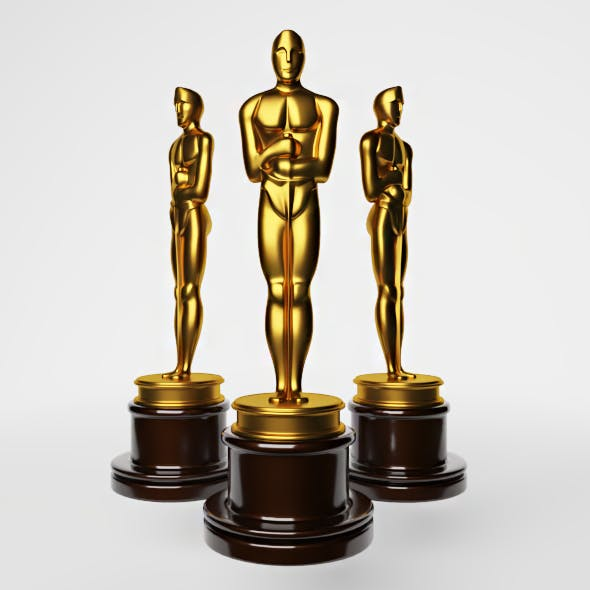 High-quality 3D model of the Oscar statuette
