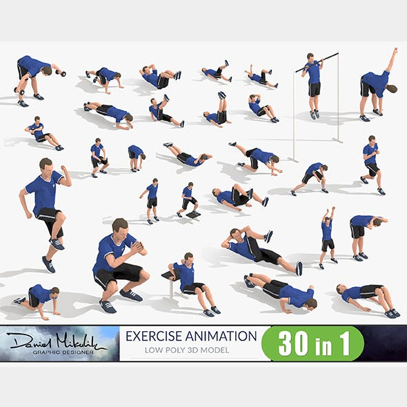 Exercise Animations Bundle Low-poly 3D model - 3DOcean Item for Sale