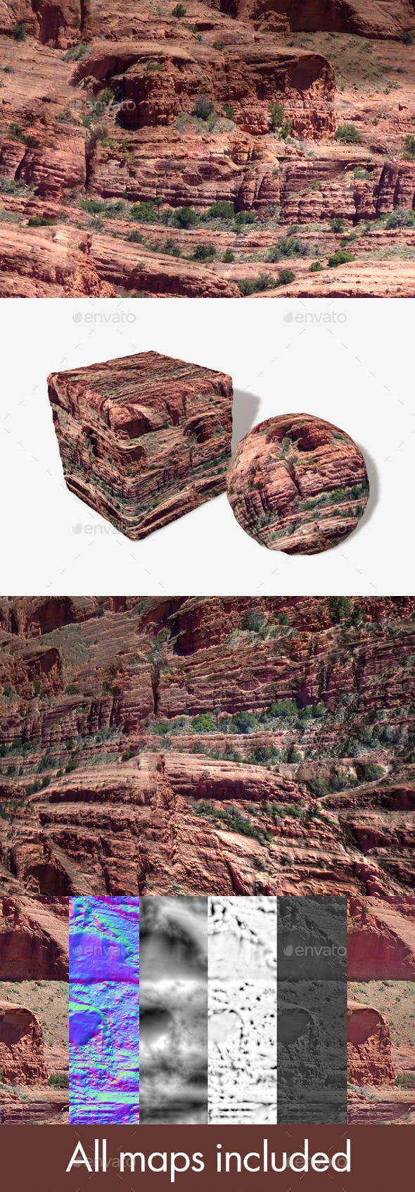Red Rock Cliffs Seamless Texture - 3DOcean Item for Sale