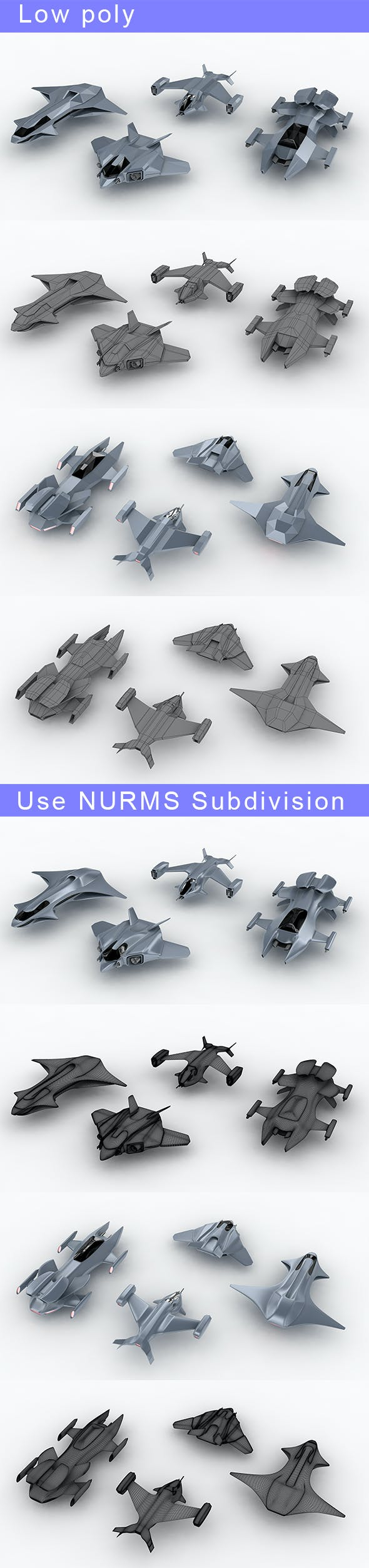Low-poly Space ships (set 3) - 3DOcean Item for Sale