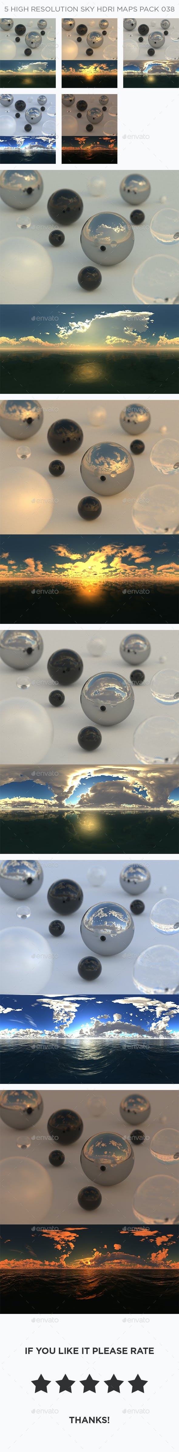 5 High Resolution Sky HDRi Maps Pack 038 - 3DOcean Item for Sale
