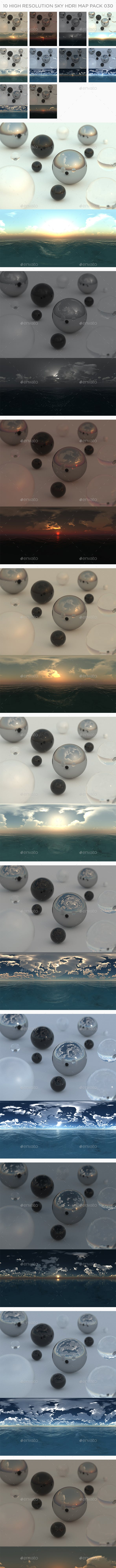 10 High Resolution Sky HDRi Maps Pack 030 - 3DOcean Item for Sale