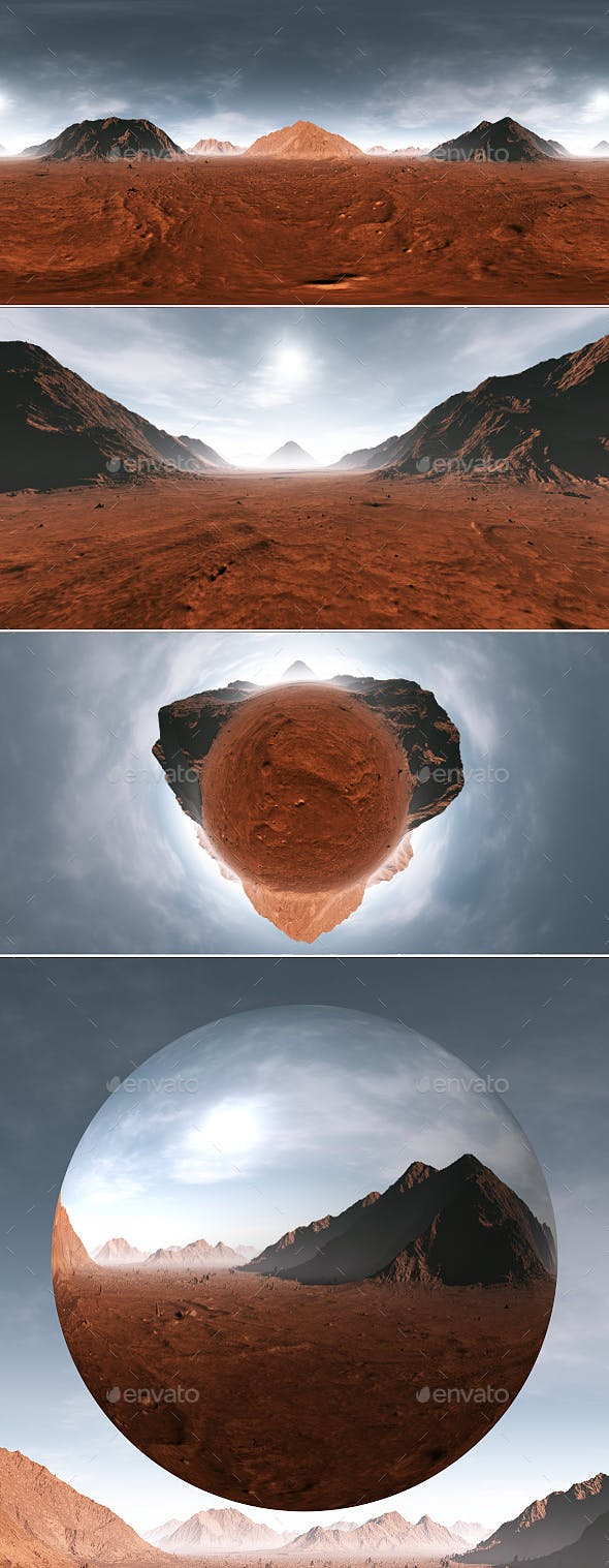 360 Equirectangular projection of Mars sunset. Martian landscape, HDRI environment map - 3DOcean Item for Sale